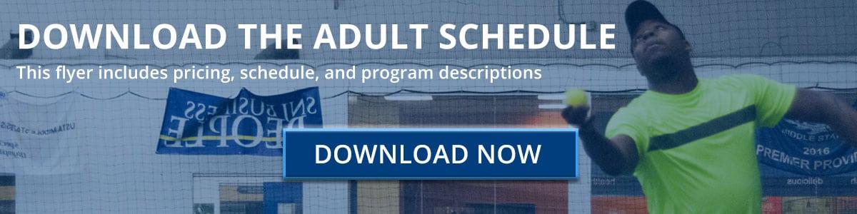 Cherry Hill tennis Club Adult Tennis Schedule Download Button